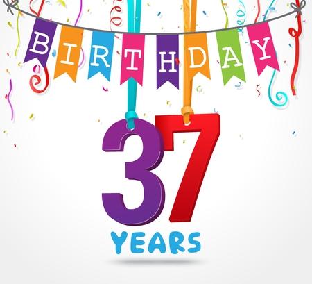 37 Years Birthday Celebration greeting card Design Illustration