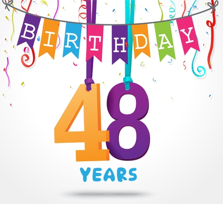 48: 48 Years Birthday Celebration greeting card Design
