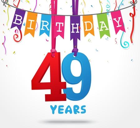 49 Years Birthday Celebration greeting card Design