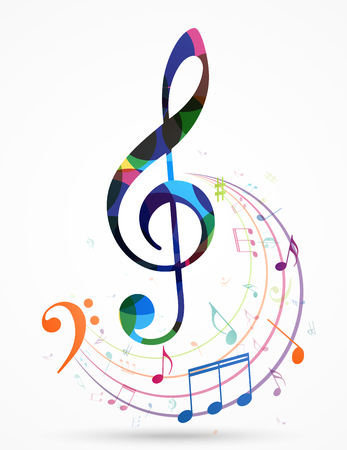 Colorful music notes background