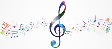 Fondo colorido de las notas de la música