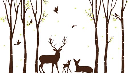 자작 나무 트리 사슴과 조류 실루엣 배경