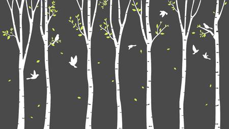 鹿と鳥のシルエット背景樺の木  イラスト・ベクター素材