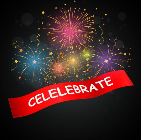 streamers: celebrations with fireworks Illustration