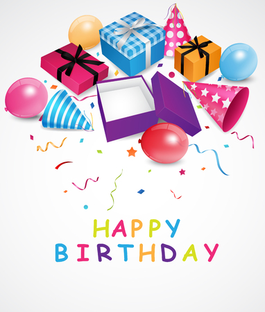 feast: Birthday background with gift box and confetti