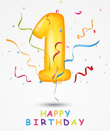 Happy Birthday, celebration greeting card with number and text Illustration