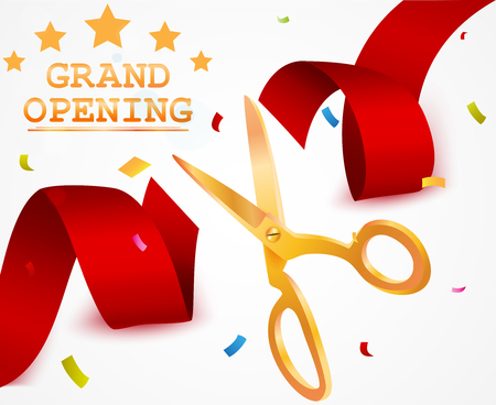 Grand opening background with ribbon and confetti Illustration