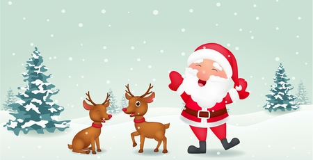 Happy Santa with reindeer
