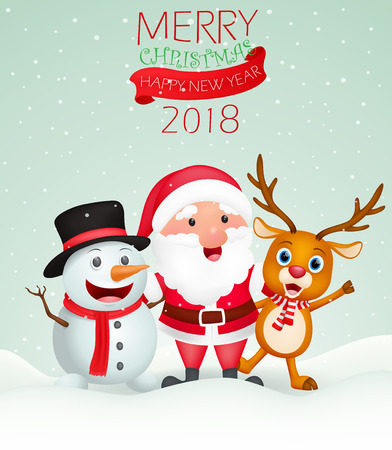 Merry Christmas background with Santa Claus, snowman and reindeer. Illustration
