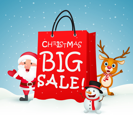 Christmas sale background with santa claus Illustration