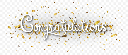 Congratulations banner with gold confetti , isolated on transparent background