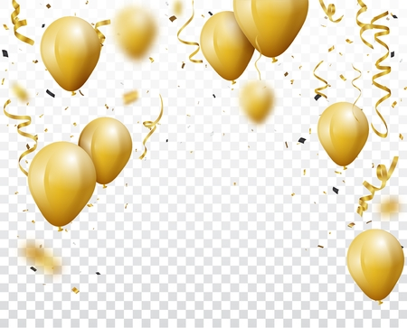 Celebration background with gold confetti and balloons, isolated on transparent background