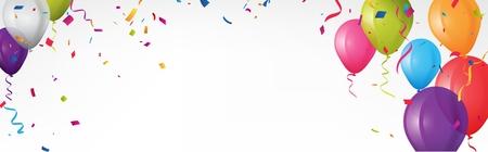 Banner de cumpleaños colorido con banderas del empavesado y confeti