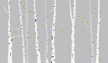 Fondo de silueta de árbol de abedul