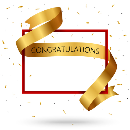 Congratulations with gold ribbon, red frame and confetti Vectores