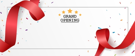 Grand opening card design with red ribbon 向量圖像