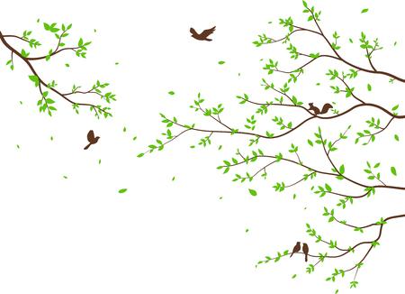 Belle branche d'arbre avec fond de silhouette d'oiseaux pour papier peint Sticker