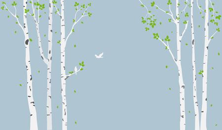 Mooie boomtak met vogels silhouet achtergrond voor wallpaper sticker