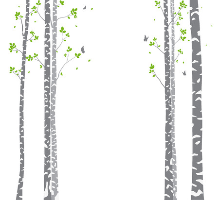 Belle branche d'arbre avec fond de silhouette d'oiseaux pour papier peint Sticker Vecteurs