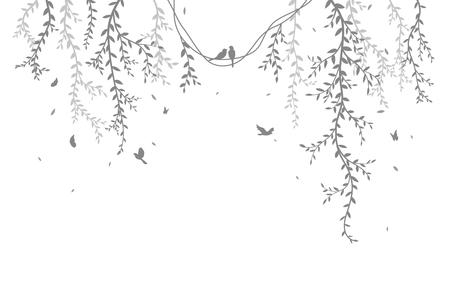 Piękna gałąź drzewa z tłem sylwetki ptaków na naklejkę na tapetę Ilustracje wektorowe