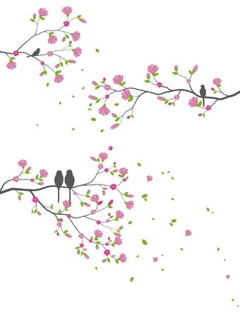 Belle branche d'arbre avec des oiseaux et fond de silhouette de fleur pour l'autocollant de papier peint Vecteurs