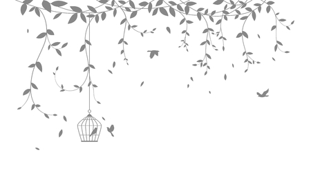 Bellissimo ramo di un albero con sfondo sagoma di uccelli per adesivo carta da parati