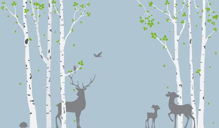 Bouleau avec des cerfs et des oiseaux Silhouette Contexte pour l'autocollant de papier peint Vecteurs
