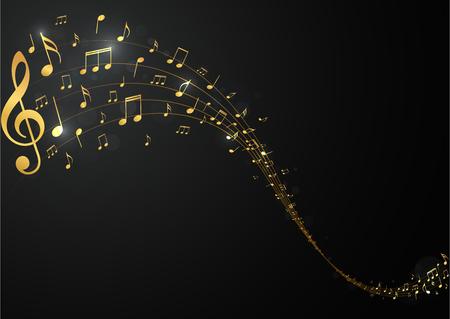 Fondo de notas musicales doradas