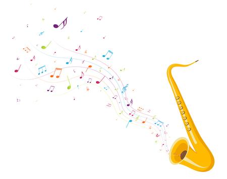 Bunte Musiknoten Hintergrund mit Saxophon