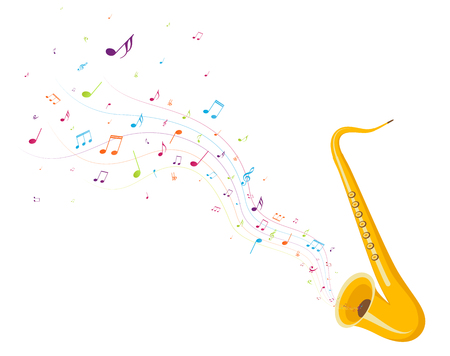 Colorful music notes background with saxophone