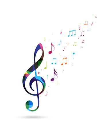 Fond de notes de musique colorées