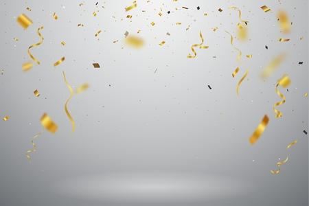 Gold confetti background, isolated on transparent background Vektorové ilustrace