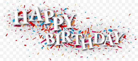 Happy birthday text over the colorful confetti isolated on transparent background