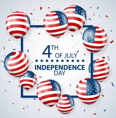 Fourth of July Independence day of usa celebrations with fireworks Ilustrace