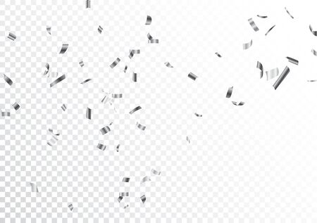 Silver confetti isolated on transparent background Ilustrace