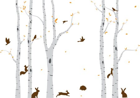 Birch Tree with deer and birds Silhouette Background Standard-Bild - 129154244