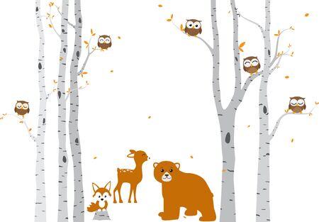 Bouleau avec cerf et oiseaux Silhouette Background