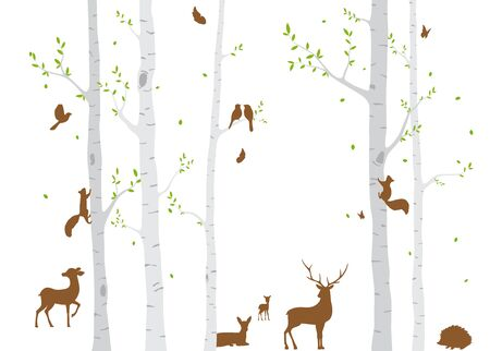 Birch Tree with deer and birds Silhouette Background Archivio Fotografico - 129154245