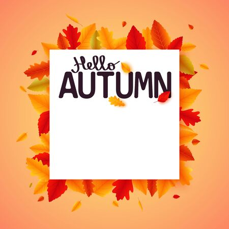 Autumn falling leaves banner design