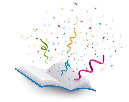 Open book with colorful confetti Ilustrace