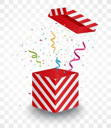 Open red box with colorful confetti Ilustrace