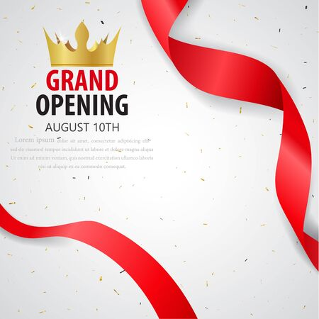Grand opening card design with red ribbon and confetti