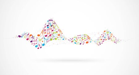Colorful music notes background, abstract sign and symbol