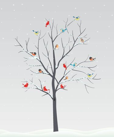 Cute birds with tree branch on winter scene