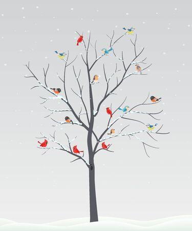 Nette Vögel mit Baumast auf Winterszene