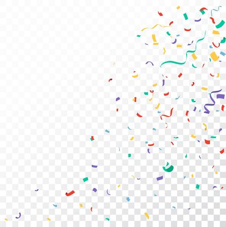 Colorful Confetti and ribbon celebrations design isolated on transparent background