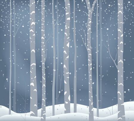 Winter Holiday background , snowy landscape with birch tree Vectores