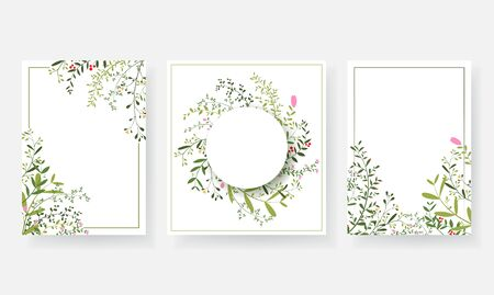 Invitation cards with floral and branches wreath