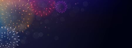 Bright Colorful Fireworks on night background