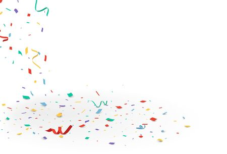 Falling colorful confetti, isolated on white background Vectores